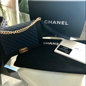 🔹▪️🔹Chanel Medium Boy Bag Lambskin Blue & Black
